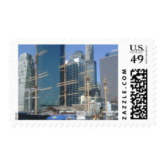 City Harbor Boats Stamp