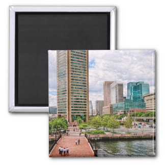 City - Harbor Place - Baltimore World Trade Center 2 Inch Square Magnet
