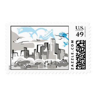 City houses Illustration Postage