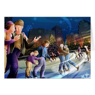 City Ice Skating Rink Greeting Card