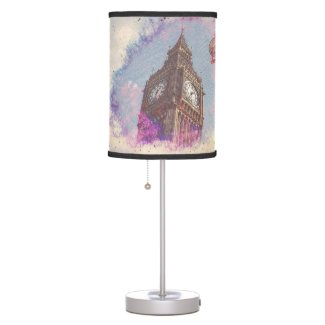 City in Nebula #purple table Lamp