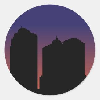 City in Night Round Stickers