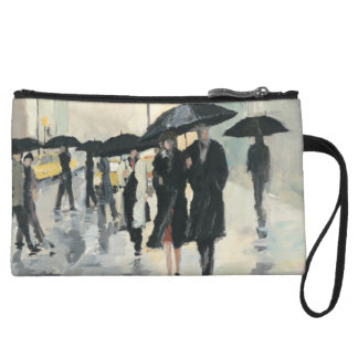 City in the Rain Wristlet Clutches