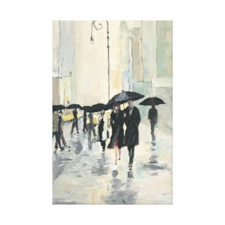 City in the Rain Canvas Print