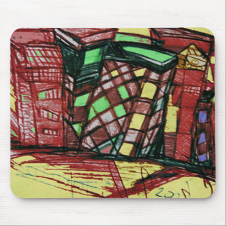 CITY ISLAND red Mouse Pad