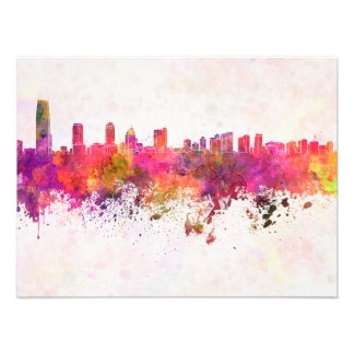 City jersey skyline in watercolor background photo print