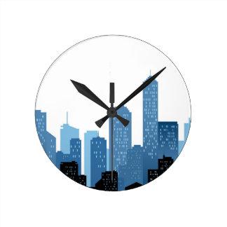 City Landscape Round Clock
