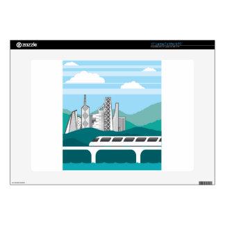 """City landscape Train bridge Decals For 15"""" Laptops"""