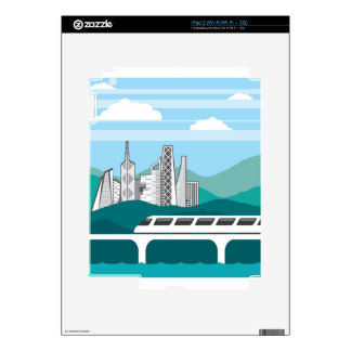 City landscape Train bridge Skin For The iPad 2