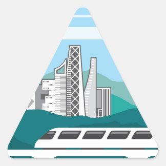 City landscape Train bridge Triangle Sticker