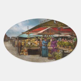 City - Lexington market, Baltimore, Maryland 1890 Oval Sticker
