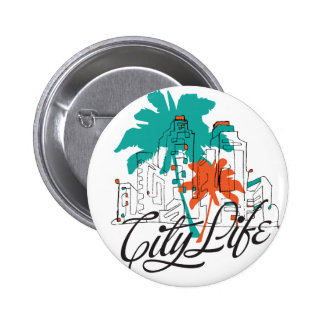 City Life - Graphic City with Palm Trees Pinback Buttons