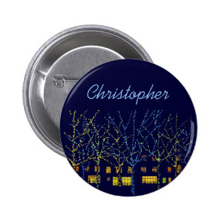 City Lights at Christmas Name Tag 2 Inch Round Button