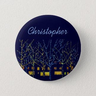City Lights at Christmas Name Tag Button