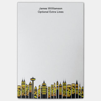 City Lights Modern Skyline Silhouette Personalized Post-it® Notes