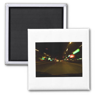 city lights - motion blurry 2 inch square magnet