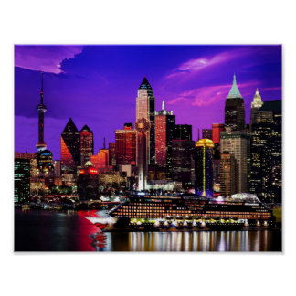 City Lights Night Sky Cruise liner Pastiche Poster