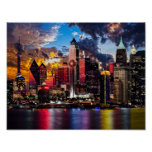 City Lights Night Sky Pastiche Poster