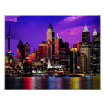 City Lights Night Sky Pastiche Poster