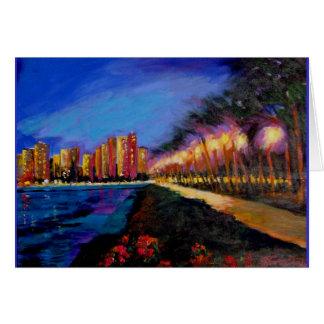 City Lights on Waikiki Beach WAlk Greeting Card