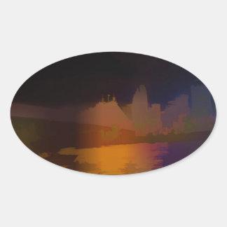 City Lights Oval Sticker