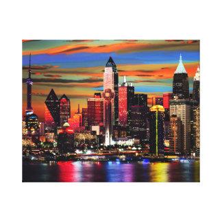 City Lights Pastiche Canvas Print
