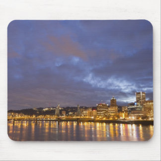 City lights reflected in the Willamette river Mouse Pad