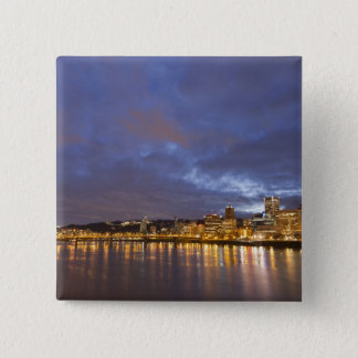 City lights reflected in the Willamette river Pinback Button