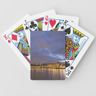 City lights reflected in the Willamette river Poker Deck