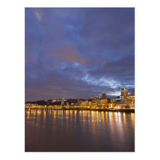 City lights reflected in the Willamette river Postcard