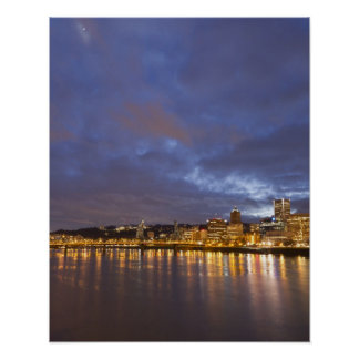 City lights reflected in the Willamette river Print