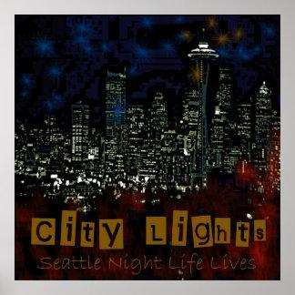 City Lights Seattle Print