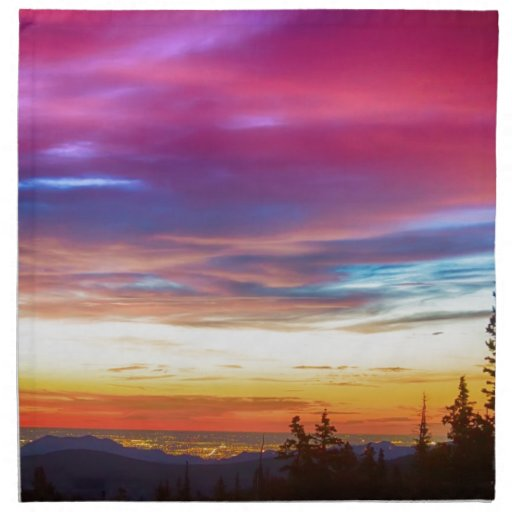 City Lights Sunrise View From Rollins Pass Cloth Napkins