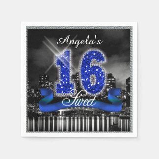 City Lights Sweet Sixteen Blue ID118 Paper Napkin