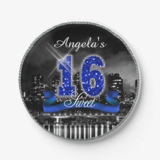 City Lights Sweet Sixteen Blue ID118 Paper Plate