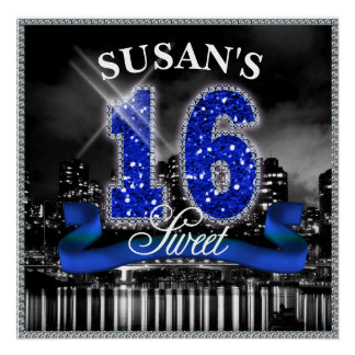 City Lights Sweet Sixteen Blue ID118 Poster