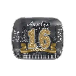 City Lights Sweet Sixteen Gold ID243 Jelly Belly Tin