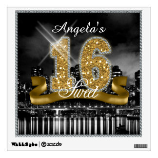 City Lights Sweet Sixteen Gold ID243 Wall Decal