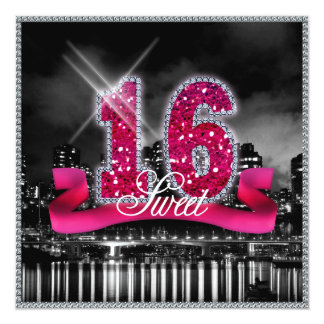 City Lights Sweet Sixteen Pink ID117 Card