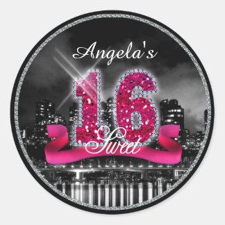 City Lights Sweet Sixteen Pink ID117 Classic Round Sticker