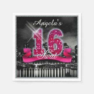 City Lights Sweet Sixteen Pink ID117 Paper Napkin