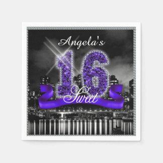 City Lights Sweet Sixteen Purple ID119 Napkin