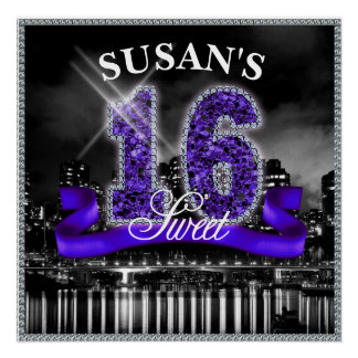 City Lights Sweet Sixteen Purple ID119 Poster