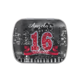 City Lights Sweet Sixteen Red ID242 Jelly Belly Candy Tin