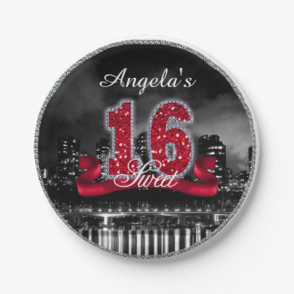 City Lights Sweet Sixteen Red ID242 Paper Plate