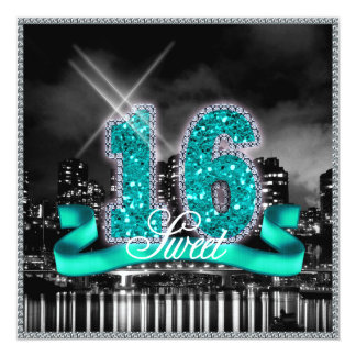 City Lights Sweet Sixteen Teal ID120 Card