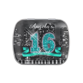 City Lights Sweet Sixteen Teal ID120 Jelly Belly Candy Tin
