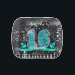 """City Lights Sweet Sixteen Teal ID120 Jelly Belly Tin<br><div class=""""desc"""">This classy candy tin design features a giant, teal faux-glitter &#39;16&#39; and ribbon over a black and white photograph of a bright city skyline reflected on water. Add a personalized name using the provided template. To see other products with this design search ID120 for teal, ID119 purple, ID118 blue or...</div>"""