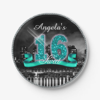 City Lights Sweet Sixteen Teal ID120 Paper Plate