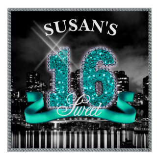 City Lights Sweet Sixteen Teal ID120 Poster
